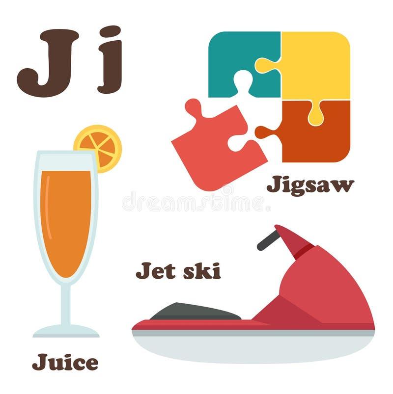 Lettera di alfabeto J Jet Ski, puzzle, succo illustrazione vettoriale