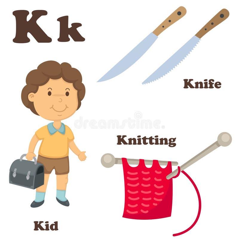 Lettera di alfabeto K Coltello, tricottante, bambino illustrazione di stock