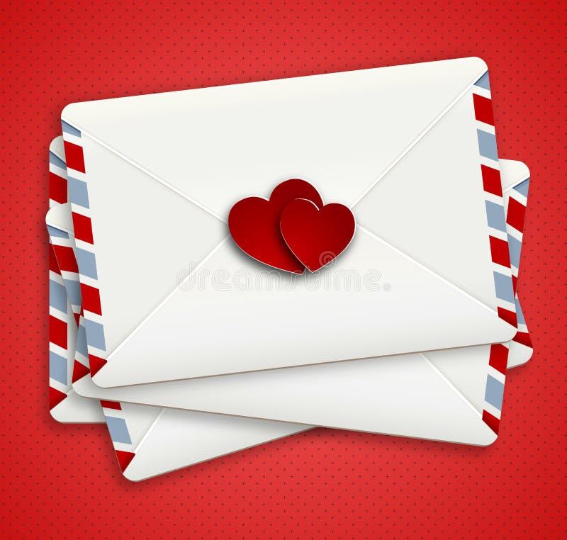 Lettera di amore nella busta di airpost royalty illustrazione gratis