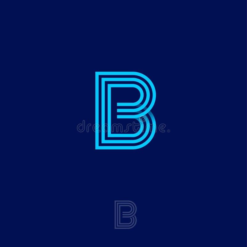 Lettera di B Logo lineare di B Monogramma blu di B, isolato su un fondo blu scuro illustrazione di stock