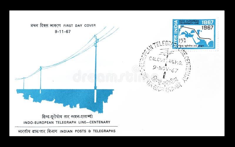 Lettera di busta primo giorno stampata dall'India immagine stock
