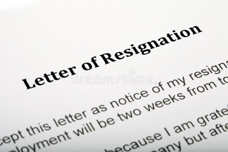 Lettera di dimissioni immagini stock