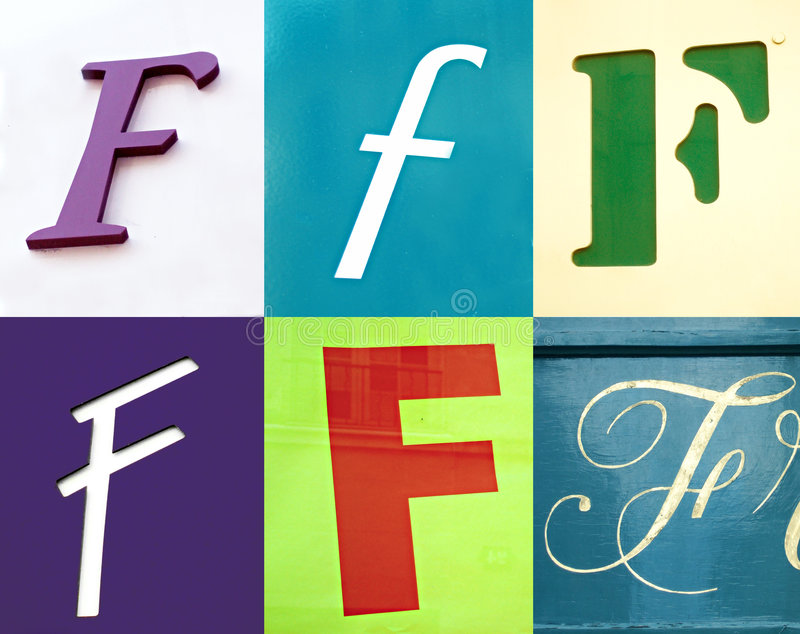 Lettera di F - l'accumulazione urbana immagine stock