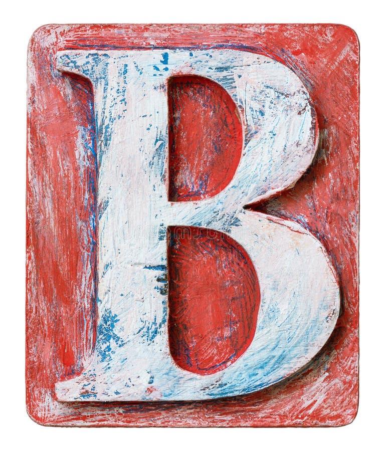 Lettera di legno B di alfabeto fotografia stock libera da diritti