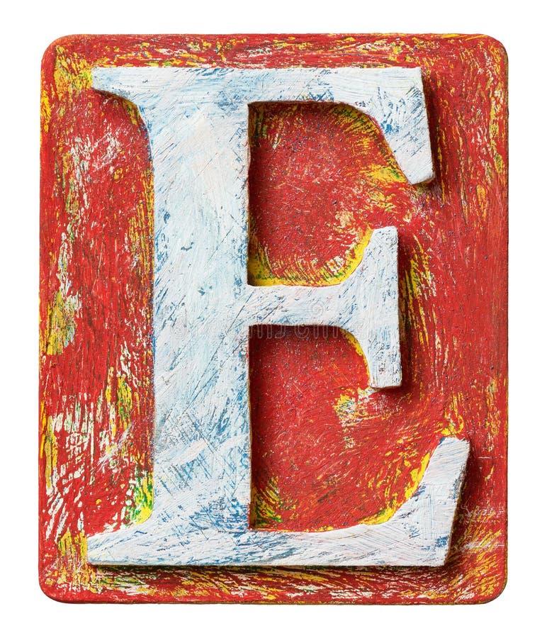 Lettera di legno E di alfabeto immagine stock