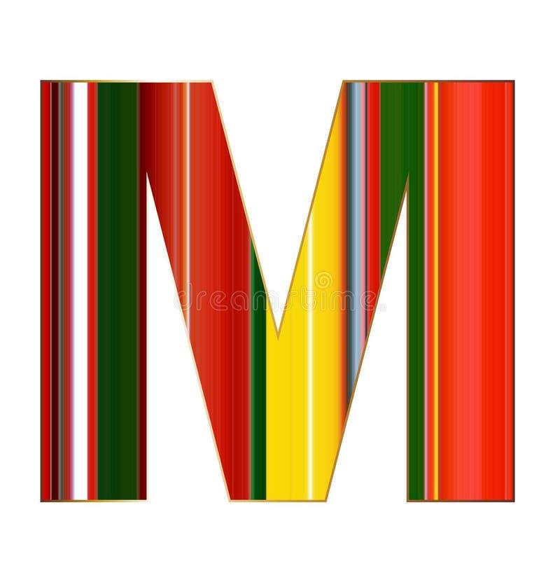 Lettera di m. nelle linee variopinte su fondo bianco illustrazione vettoriale