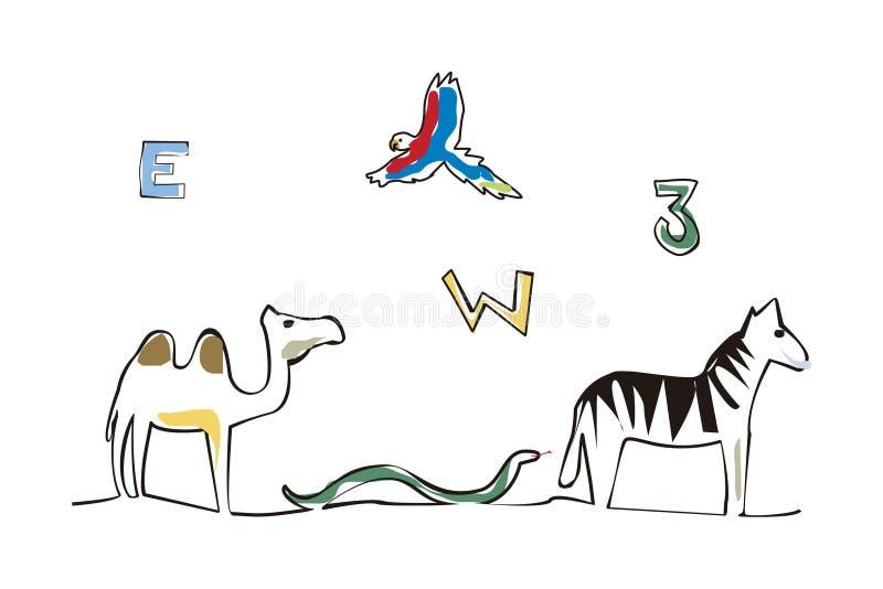 Lettera di numeri ed illustrazione degli animali immagine stock