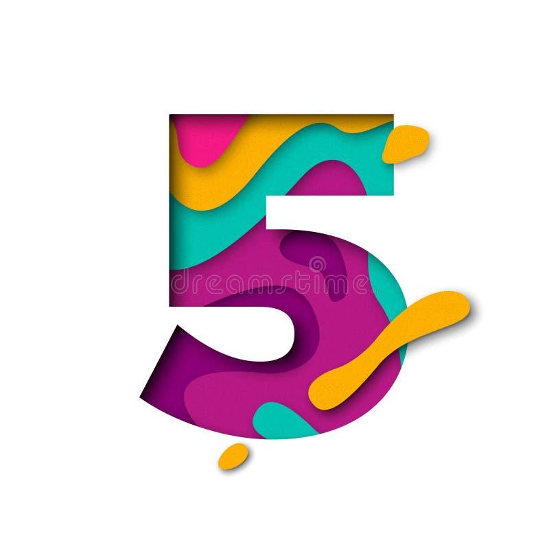 Lettera 5 di numero cinque del taglio della carta Multi effetto realistico del papercut di strati 3D illustrazione vettoriale
