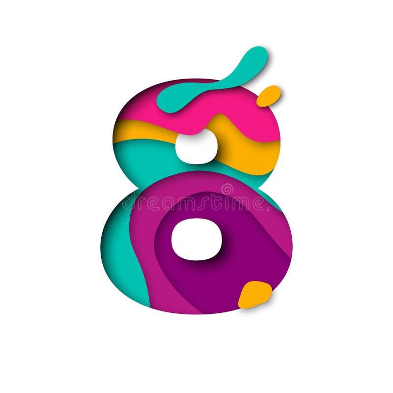 Lettera 8 di numero otto del taglio della carta Multi effetto realistico del papercut di strati 3D illustrazione vettoriale
