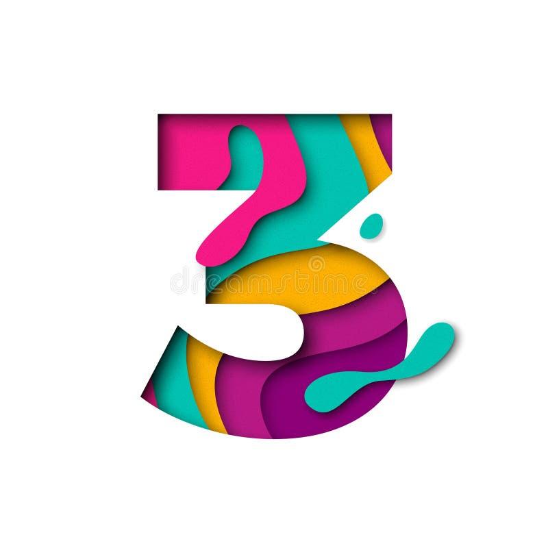 Lettera 3 di numero tre del taglio della carta Multi effetto realistico del papercut di strati 3D royalty illustrazione gratis