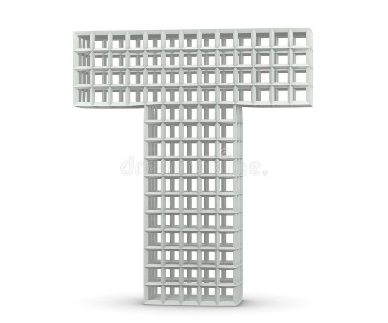 Lettera di plastica dai blocchi Lettera maiuscola - T ha isolato su fondo bianco 3d rendono l'illustrazione illustrazione di stock