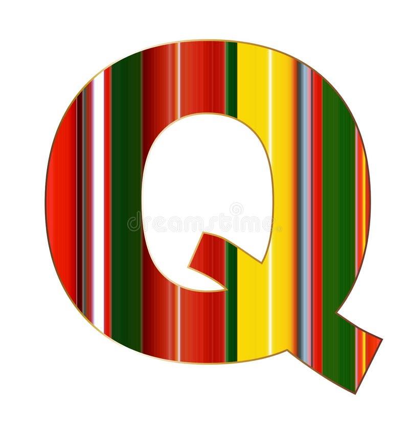 Lettera di Q nelle linee variopinte su fondo bianco illustrazione vettoriale