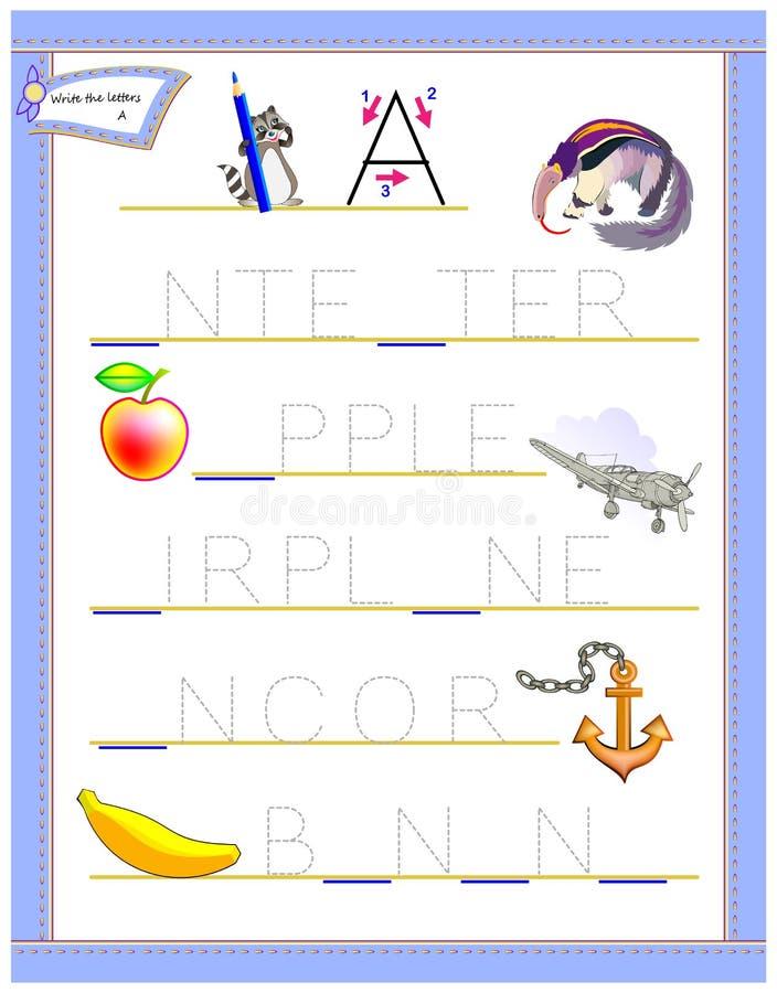 Lettera di rintracciamento A per l'alfabeto inglese di studio Foglio di lavoro per i bambini Gioco di puzzle di logica Pagina di  illustrazione vettoriale