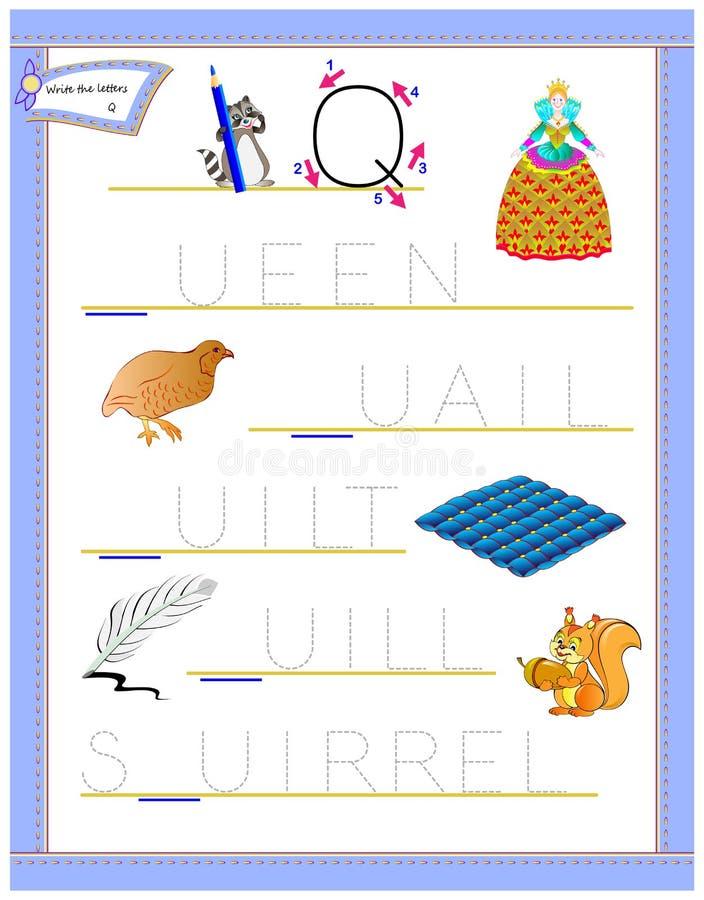 Lettera di rintracciamento Q per l'alfabeto inglese di studio Foglio di lavoro stampabile per i bambini Gioco di puzzle di logica royalty illustrazione gratis
