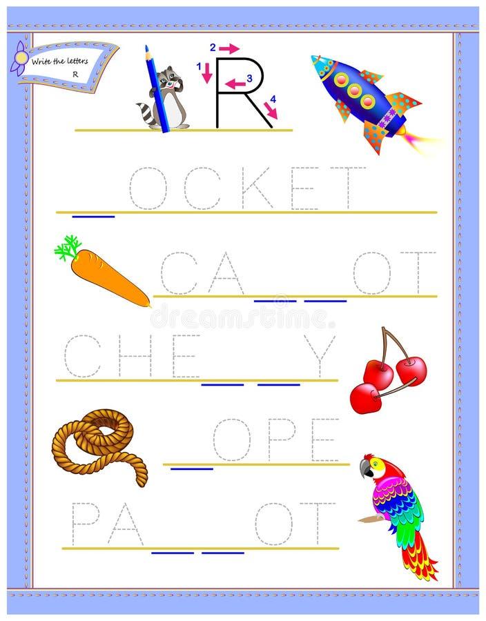 Lettera di rintracciamento R per l'alfabeto inglese di studio Foglio di lavoro stampabile per i bambini Gioco di puzzle di logica illustrazione vettoriale
