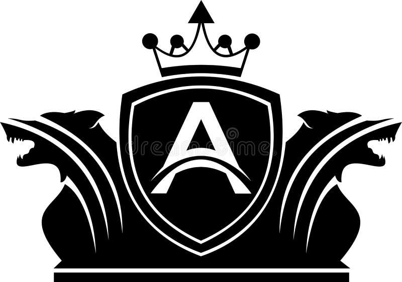 Lettera di riserva A di logo con protezione gemellata di re del lupo fotografia stock