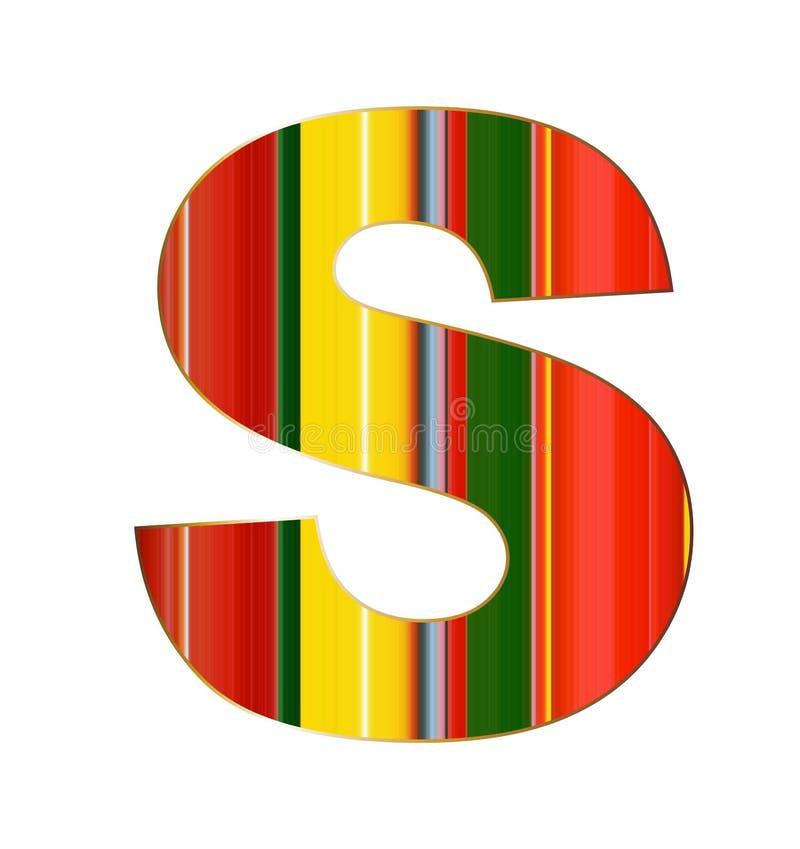 Lettera di S nelle linee variopinte su fondo bianco illustrazione vettoriale