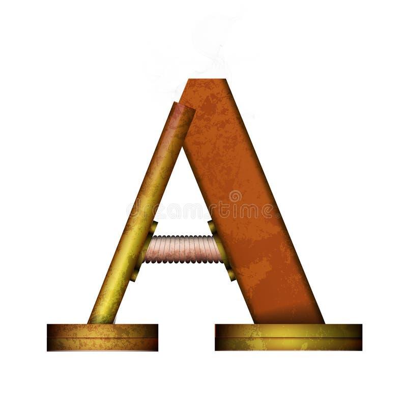 Lettera di Steampunk isolata sul vettore bianco illustrazione di stock