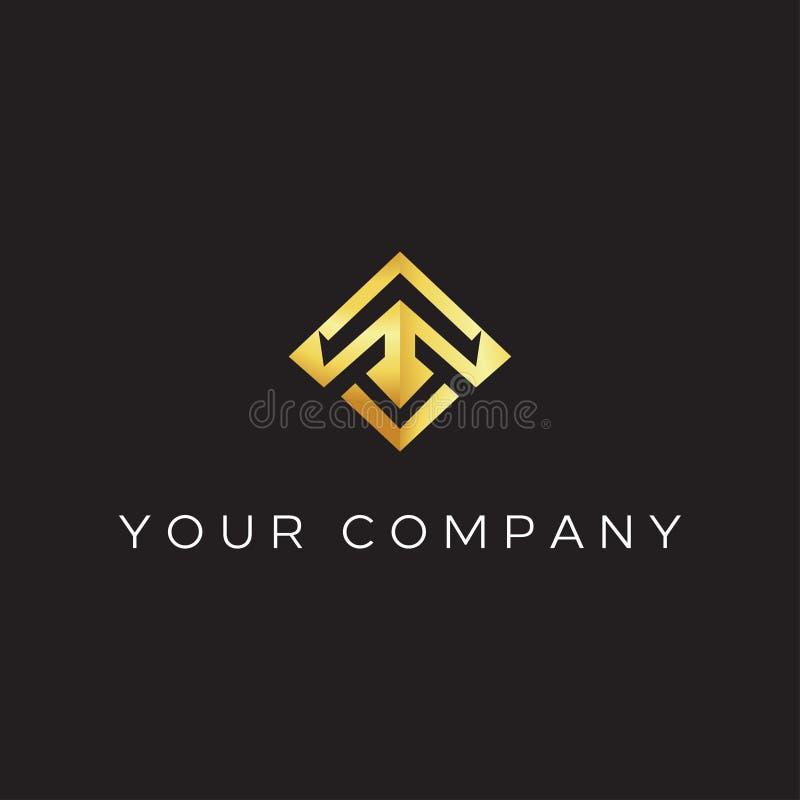 Lettera di T con ispirazione moderna dell'illustrazione dell'icona di vettore di progettazione di logo di stile T che forma lanci illustrazione vettoriale
