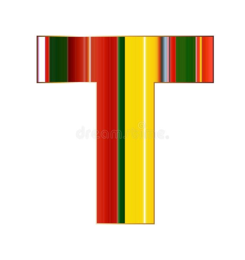 Lettera di T nelle linee variopinte su fondo bianco royalty illustrazione gratis