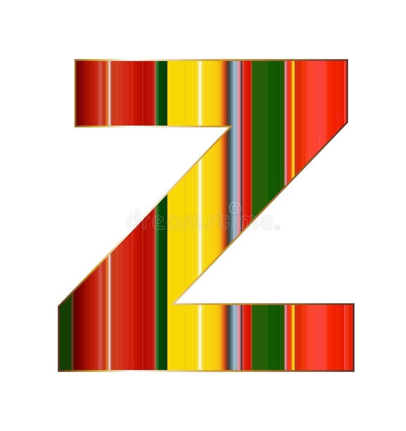 Lettera di Z nelle linee variopinte su fondo bianco illustrazione di stock