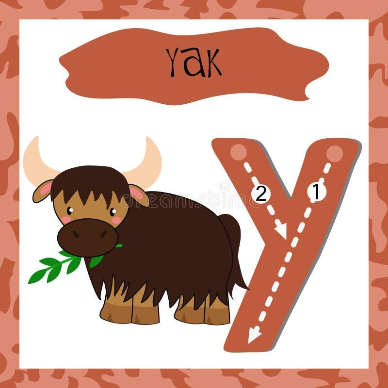 Lettera divertente Y di alfabeto degli animali divertenti di alfabeto inglese illustrazione di stock