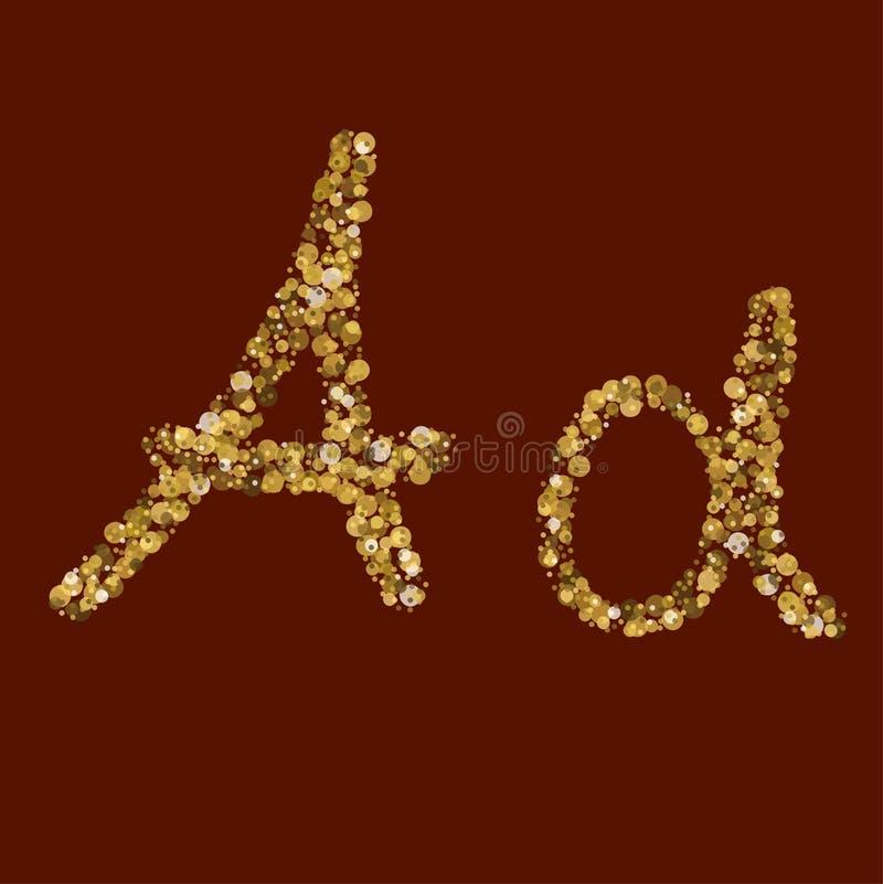 Lettera dorata di scintillio di aa illustrazione di stock