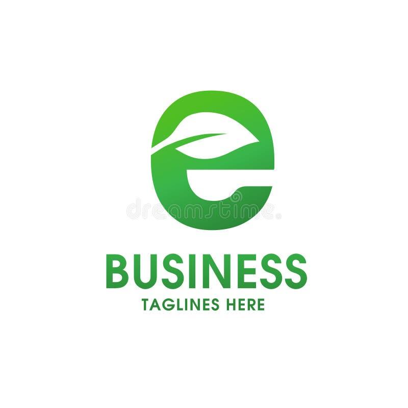 Lettera E con il logo della foglia illustrazione vettoriale