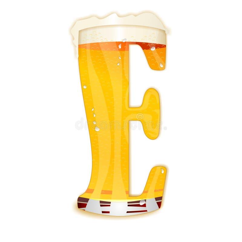 Lettera E di alfabeto della birra illustrazione di stock