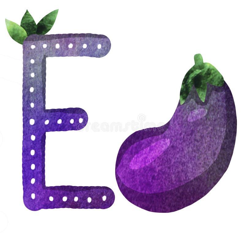Lettera E di alfabeto inglese illustrazione di stock