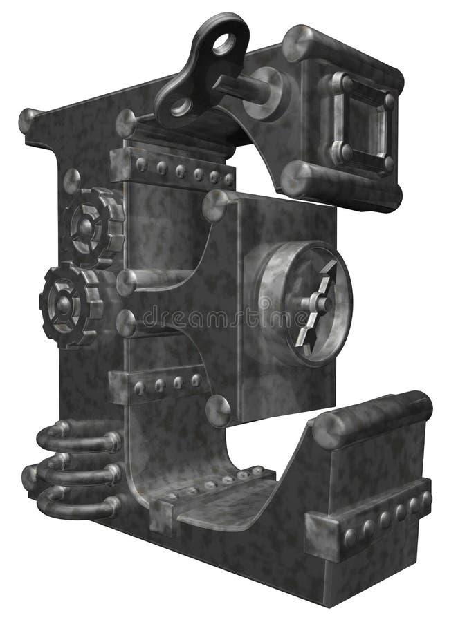 Lettera e di Steampunk illustrazione di stock