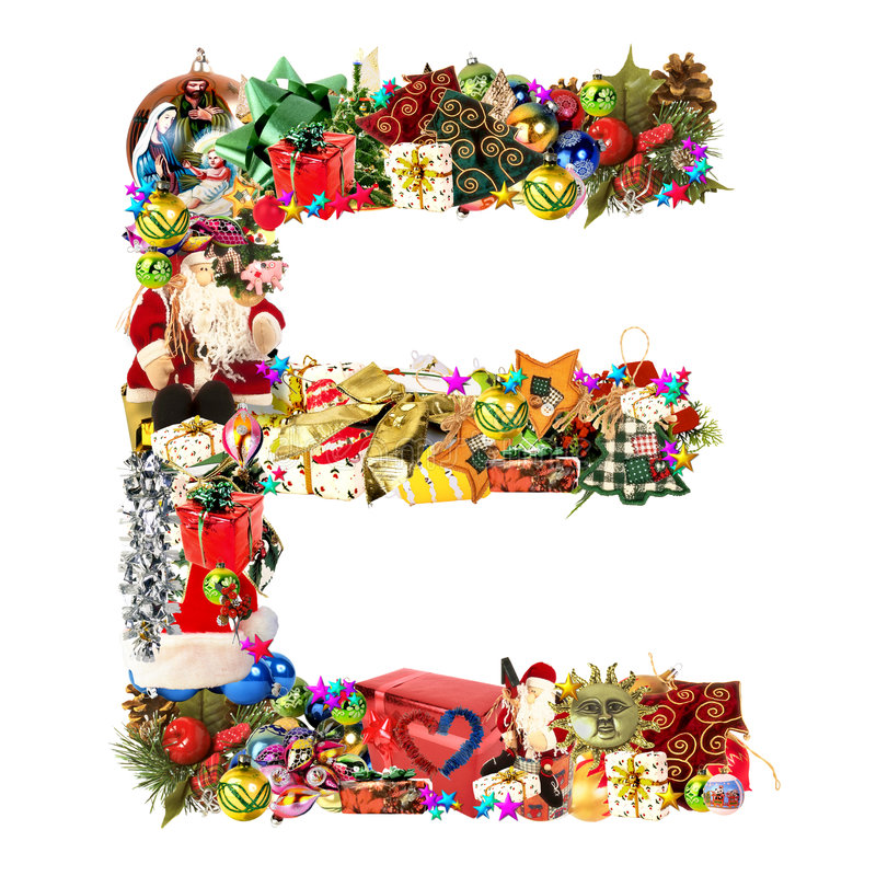 Lettera E, per la decorazione di natale illustrazione di stock