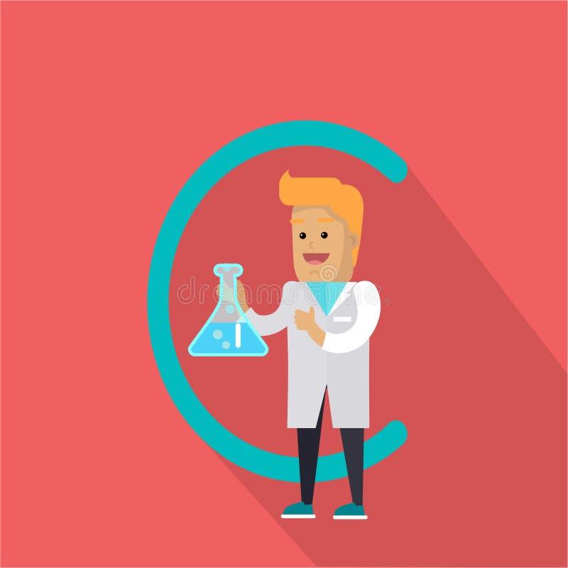 Lettera e scienziato di C con il prodotto chimico illustrazione vettoriale