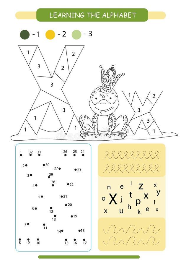 Lettera X e xenopus divertente del fumetto A-z di alfabeto degli animali Pagina di coloritura Foglio di lavoro stampabile Pratica illustrazione di stock