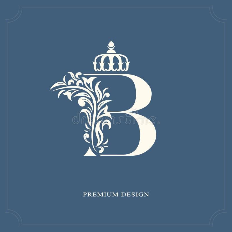 Lettera elegante B con una corona Stile reale grazioso Bello logo calligrafico Emblema disegnato annata per progettazione del lib illustrazione di stock