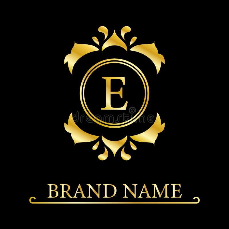 Lettera elegante E con una corona Stile reale grazioso Bello logo calligrafico Emblema disegnato annata per progettazione del lib royalty illustrazione gratis