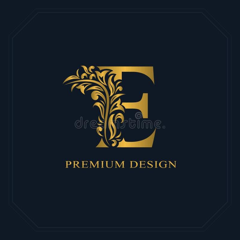 Lettera elegante E dell'oro Stile grazioso Bello logo calligrafico Emblema disegnato annata per progettazione del libro, marca co illustrazione di stock