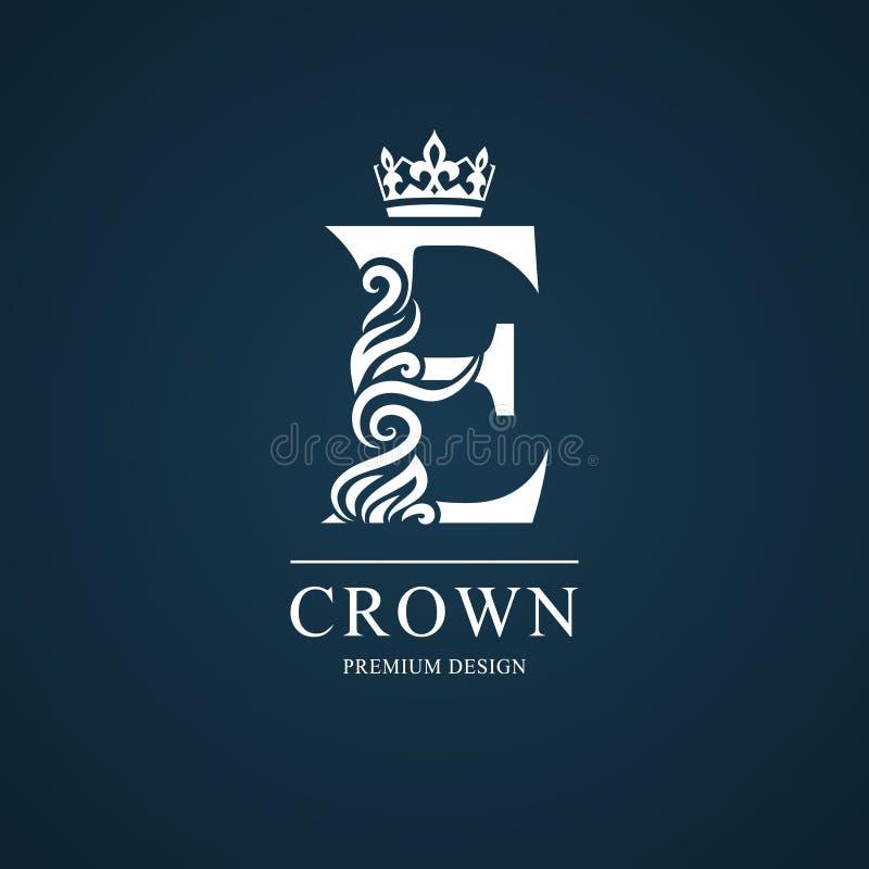 Lettera elegante E Stile reale grazioso Bello logo calligrafico Emblema disegnato annata per progettazione del libro, marca comme illustrazione di stock
