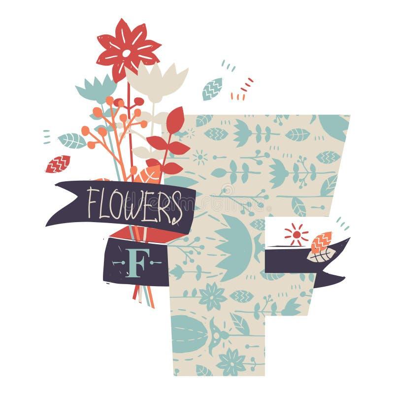 Lettera F con i fiori royalty illustrazione gratis