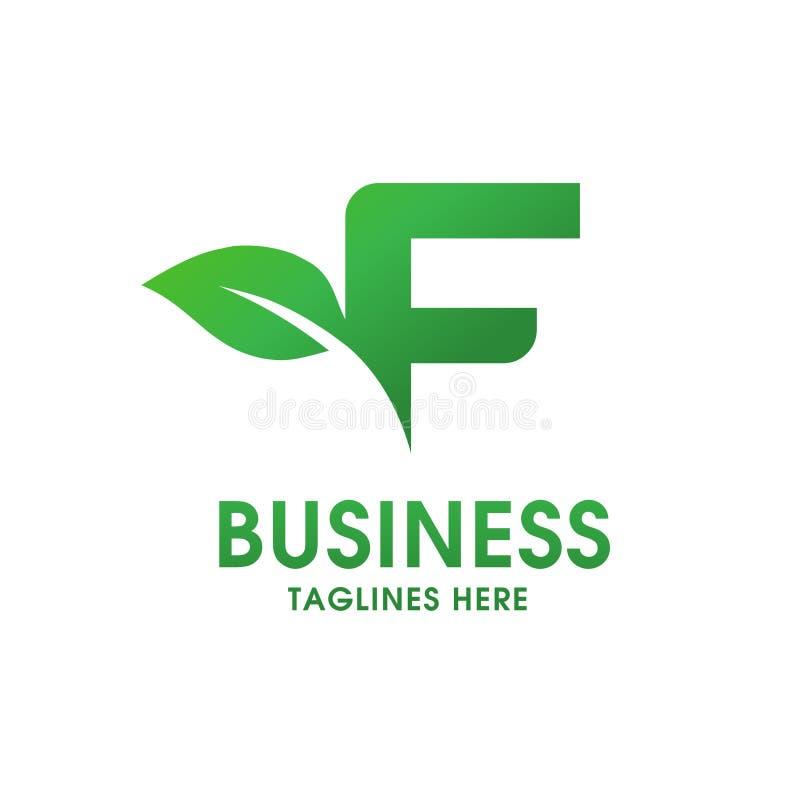 Lettera F con il logo della foglia illustrazione di stock