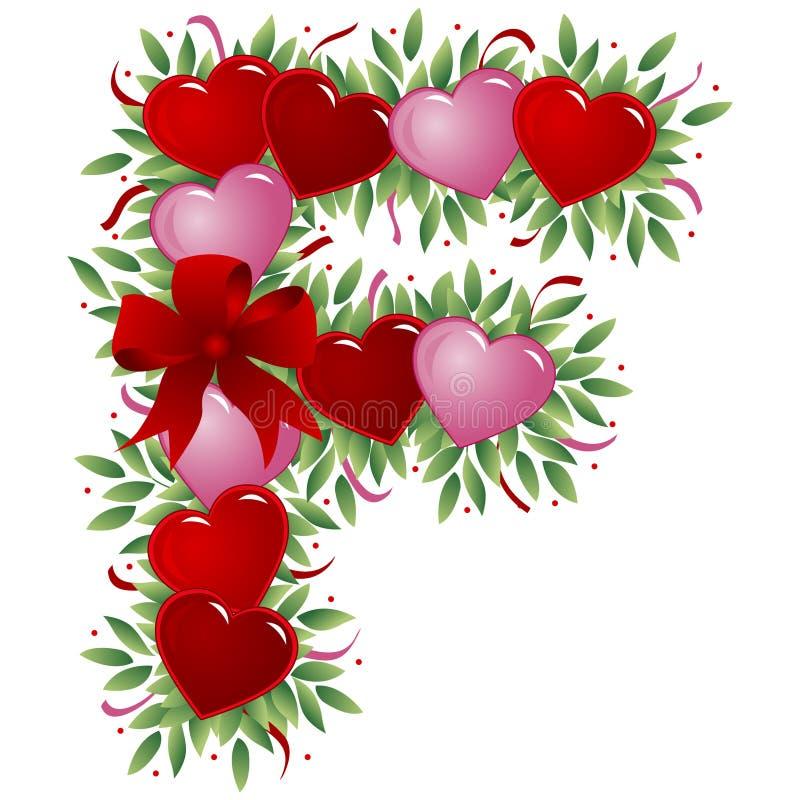 Lettera F - Lettera del biglietto di S. Valentino royalty illustrazione gratis