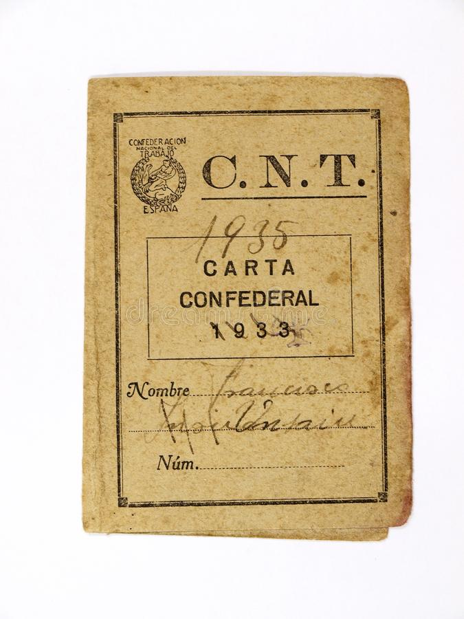 Lettera federale della confederazione nazionale di lavoro CNT Guerra civile spagnola immagini stock