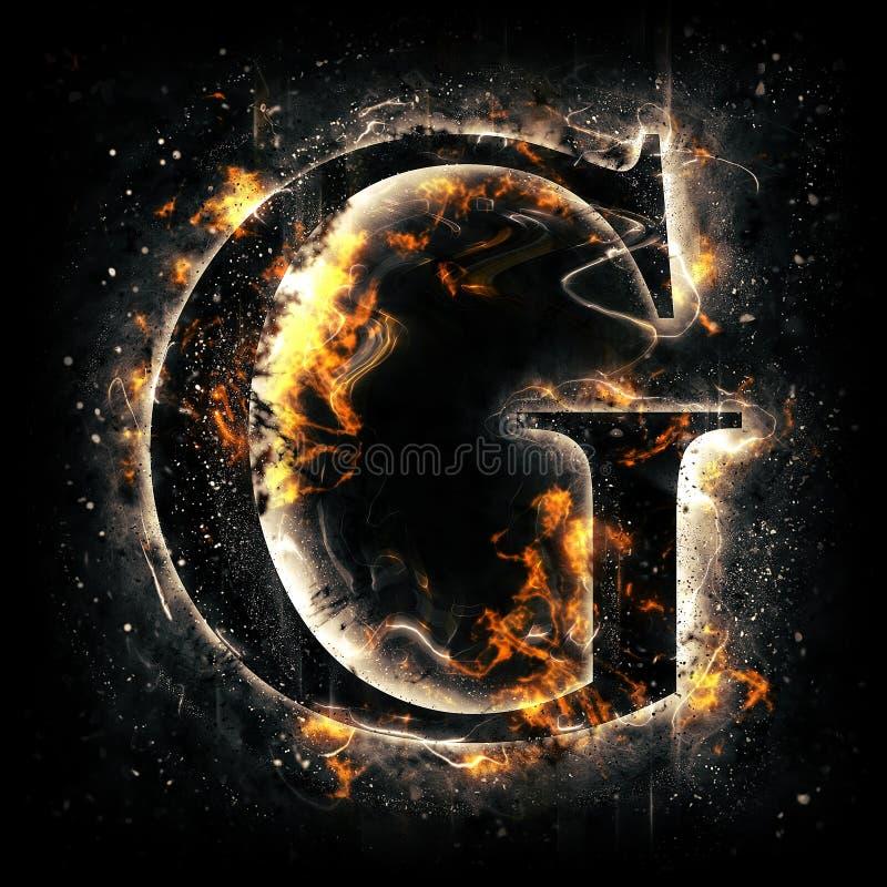 Lettera G del fuoco illustrazione vettoriale