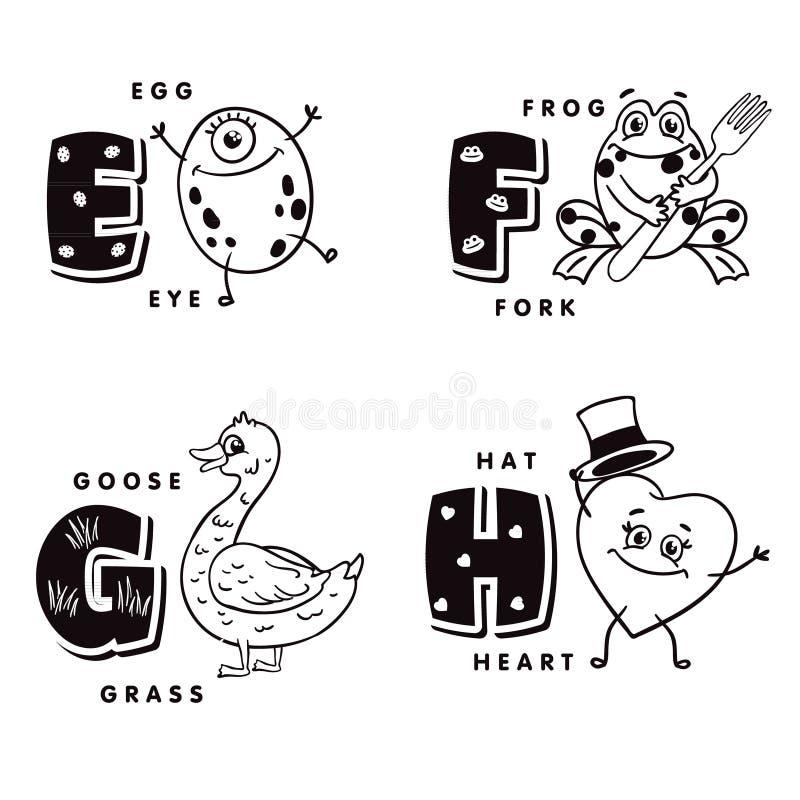 Lettera G E-F H di alfabeto che descrive un uovo, una rana, un'oca e un cuore Alfabeto di vettore illustrazione di stock