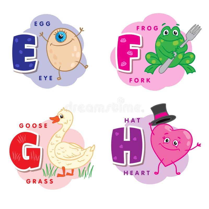 Lettera G E-F H di alfabeto un uovo, rana, oca, cuore royalty illustrazione gratis