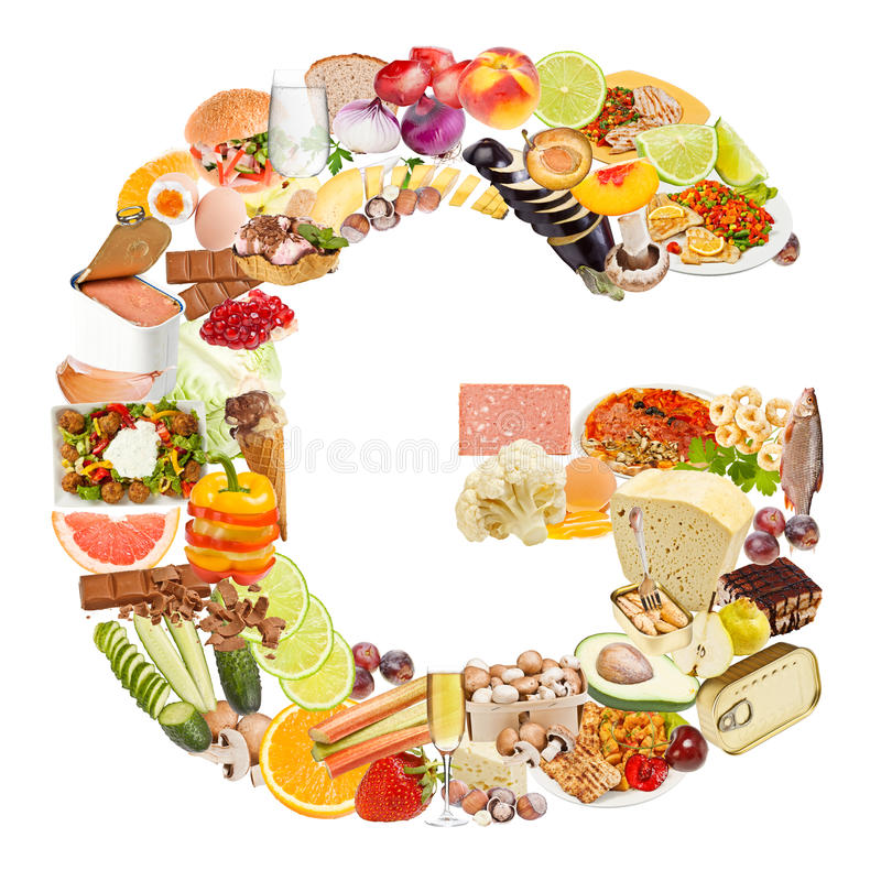 Lettera G fatta di alimento fotografie stock libere da diritti