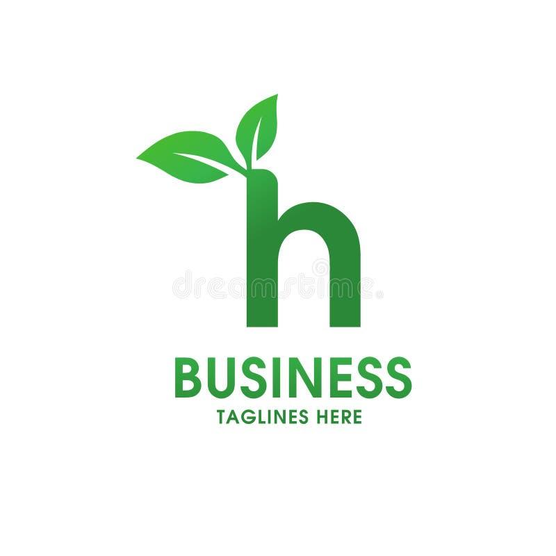 Lettera H con il logo della foglia royalty illustrazione gratis