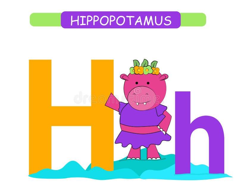 Lettera H e ippopotamo divertente del fumetto A-z di alfabeto degli animali Alfabeto sveglio dello zoo nel vettore per i bambini  royalty illustrazione gratis