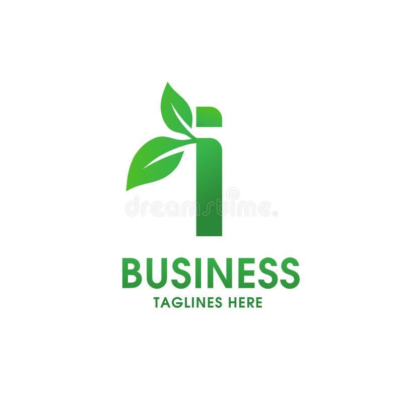 Lettera i con il logo della foglia illustrazione di stock