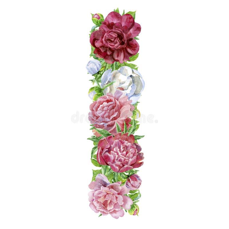 Lettera I dei fiori dell'acquerello illustrazione di stock